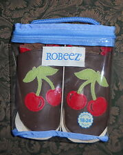 NIP ROBEEZ NO-SKID BABY SHOES CHERRIES 18-24 MOS MADE IN CANADA