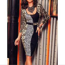 long sleeve square collar Party leopard print Women Bodycon Dress 9331 patchwork