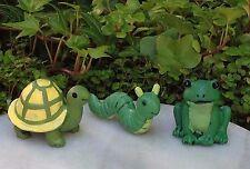 Miniature Dollhouse FAIRY GARDEN ~ GLOW in the DARK Frog, Caterpillar & Turtle 3