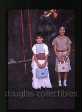 1961 35mm Ektachrome Photo slide Tween Girls with Ballerina lunch boxes