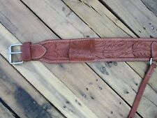 USED WESTERN BARREL BACK CINCH FLORAL OAK TOOLED LEATHER HORSE REAR GIRTH TACK