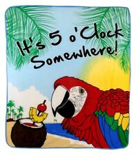 It' 5 O'Clock Somewhere Blanket Tropical Margaritavilla Tiki Jimmy Buffet