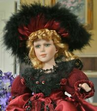 Sabrina Collection 2001 Red Hoopskirt - Roses- Parasol -Fur -Porcelain Doll