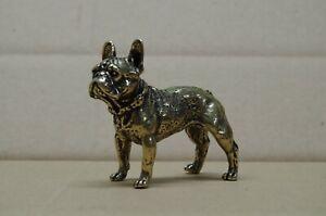 Hund Französische Budogge  Statue Bronze Messing Schreibtischobjekt 7 cm