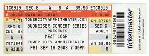 Rare MEAT LOAF 9/19/03 Cleveland OH Tower City Amphitheater Ticket!