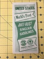 Vintage United States Tour Map Sinclair H-C Anti-Rust Gasoline World's First
