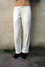 PUMA Womens Sport Fitness Gym White Pink Tracksuit Polyester Pants Trousers M