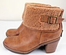 Refresh Ankle Boots Size UK 4 Women Brown Leather Synthetic Fur Lining Zipped