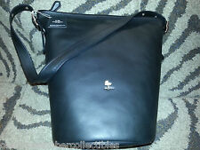 COACH X PEANUTS Black Leather WOODSTOCK DUFFLE BAG Large Purse 1ST EDITION New