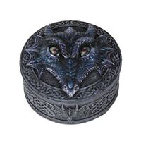 Black Dragon with Rolling Eyes Jewelry Keepsake Trinket Box Container Fantasy