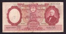 Argentina 10,000 Pesos P-281a   ND1961-69     VG