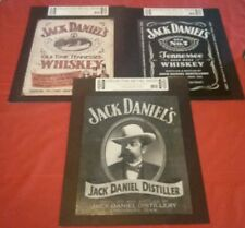 "Jack Daniels lithograph metal sign set of 3 brand new wall posters 16""x12.5"""