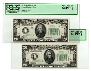 TWO CONSEC VINSON 1934H $20 St. Louis Federal Reserves PCGS Choice New CU 64PPQ