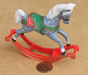 1:12 Scale Dappled Rocking Horse Tumdee Dolls House Miniature Nursery Accessory