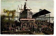 Postcard - 177a Launching Battleship USS Georgia, ME