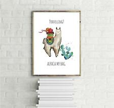 Travelling? Alpaca My Bag, Kunstdruck Janette, Art Print Mini Poster 30 x 40 cm