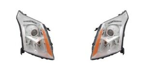 Right & Left Side Replacement Halogen Headlight PAIR For 2010-2013 Cadillac SRX