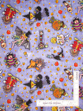 Halloween Suzy's Zoo Character Toss Purple Cotton Fabric Hoffman L4181 - Yard