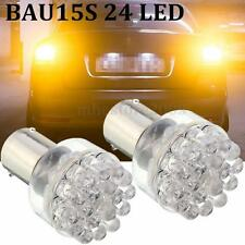 2x BAU15S 1156 24 SMD LED Yellow/AMBER TURN SIGNAL Light Lamp Bulb offset 12V 1W