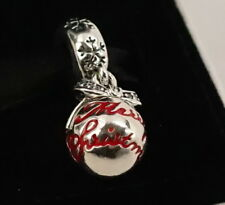 Authentic Pandora Silver Red Enamel Merry Christmas Bauble Dangle Charm 792008CZ