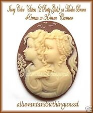 2 LOVELY IVORY color SISTERS (2 PRETTY GIRLS) on MOCHA BROWN 40mm x 30mm CAMEOS