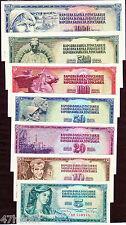 Yugoslavia 1965-86 > 5/10/20/50/100/500/1000, Banknote set of 7 UNC