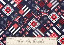 Patriotic USA Stars Flags Red White Blue Independence Day Cotton Fabric Yard