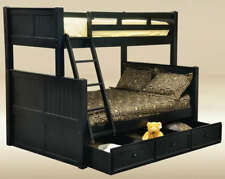 """NEW COASTAL """"COTTAGE"""" BLACK BIRCH WOOD TWIN OVER FULL SIZE BUNK BED"""