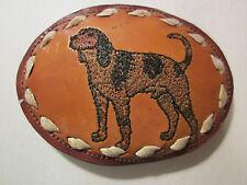 VINTAGE Nocona BEAGLE DOG  (sewn dog on leather) BELT BUCKLE LEATHER