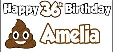 Emoji Poo Themed Personalised 36th Birthday Banner x2 Party Decorations Any Name
