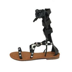 Sandali bassi alla schiava donna nero con borchie argentate e lacci regolabile c
