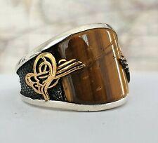 Turkish Ottoman  Tiger's Eye Stone 925 K Sterling Silver Mens Ring