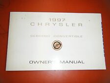 1997 CHRYSLER SEBRING CONVERTIBLE  FACTORY OPERATORS OWNERS MANUAL
