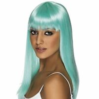 Adult Glamour Glamourama Long Straight Hair with Bangs Cyan Blue Costume Wig