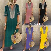 Women Summer Linen Boho Long Maxi Dress Short Sleeve Kaftan Beach Sundress S-5XL