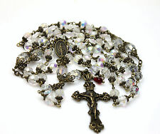 LG ANTIQUE BRONZE MARY SWAROVSKI CLEAR AB CRYSTALS ROSARY,ROSARIO & FREE GIFT