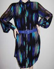 Sz M KIRNA ZABETE Shirtwaist Dress Black/Blue Ikat-Print LS Button-Front w/Belt