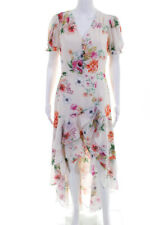 Yumi Kim Womens Short Sleeve Floral Tiered High-Low Dress Beige Size Medium