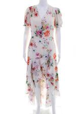 Yumi Kim Feminino Manga Curta Em Camadas Floral Vestido de alto-baixo Bege Tamanho Médio