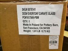 NEW Pottery Barn GLASS CARAFE / JUICE DECANTER Made in Poland FREE SHIPPING