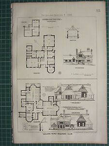 1877 DATED ARCHITECTURAL PRINT ~ COLLAGE HOSPITAL SIDE ELEVATION PLAN ~ COTTAGE