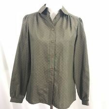 Vintage 1970s Mod Olive Green Orange Print Secretary Long Sleeve Blouse M
