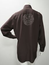 Womens Fendi Embellished Silk Button Down Blouse Brown Size 44