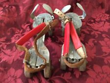 VINTAGE UNION HARDWARE METAL ROLLER SKATES TOE GUARD RED WHEELS LEATHER STRAP