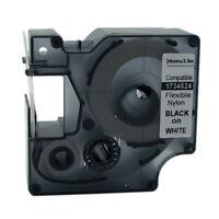 Compatible DYMO Rhino Industrial  Flexible Nylon Label Tape Black on White  24mm