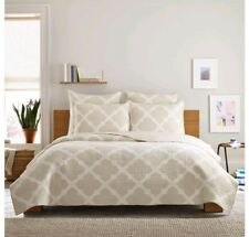 Real Simple Bennett Twin Quilt Stone Ivory Taupe Cotton