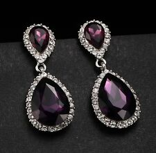 Gorgeous 925 Silver Amethyst Stud Dangle Earrings Wedding Proposed Women Jewelry