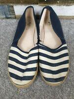 Crew Clothing Company Blue/White Striped Ladies Espadrille Flat Shoes Size UK 8