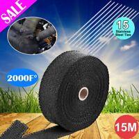 Car Heat Resistant 2000F Exhaust Wrap Black 15M*50mm + 10 Stainless Steel Ties