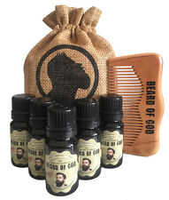 5 Pack BEARD OIL + WOOD COMB & SACK by BEARD of GOD™ | Organic | 19 Manly Scents